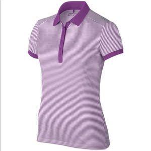 Nike Golf Polo Shirt purple/white stripes